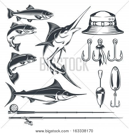 Set of vector icons on the theme of fishing - marlin and trout in various poses, fishing rod, fishing hooks, float and baubles, hat. Engraving style.