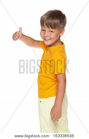 Happy Little Boy Holds His Thumb Up