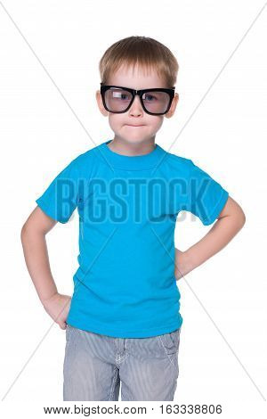Clever Little Boy In Glasses