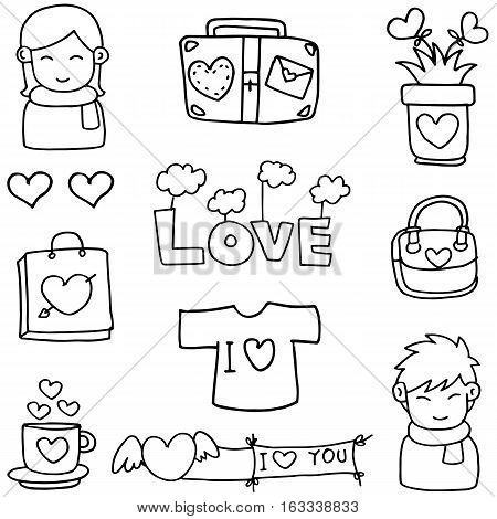 Collection stock love theme of doodles vector art