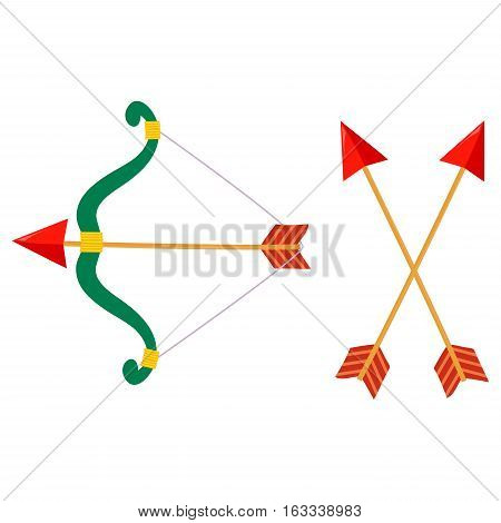 Vector Illustration of Set of Bow and Arrow