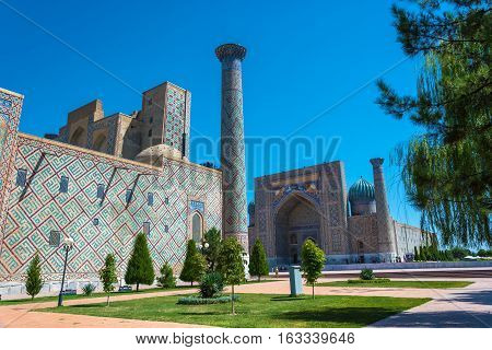 Registan Square – The Most Famous Central Square Of The City Of Samarkand, Uzbekistan.