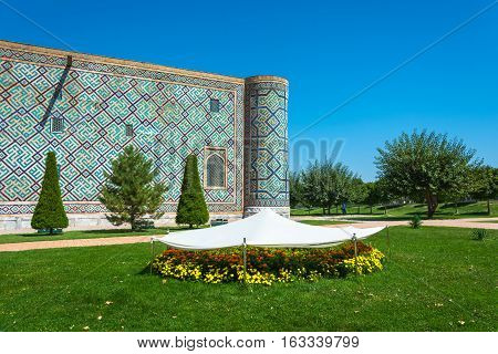 Bright Flowerbeds Sheltered From The Scorching Sun, Samarkand, Uzbekistan.