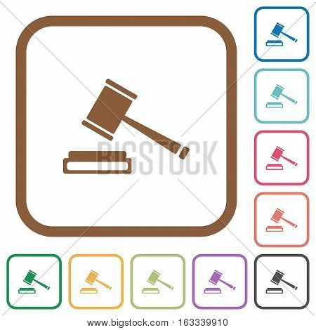 Auction hammer simple icons in color rounded square frames on white background