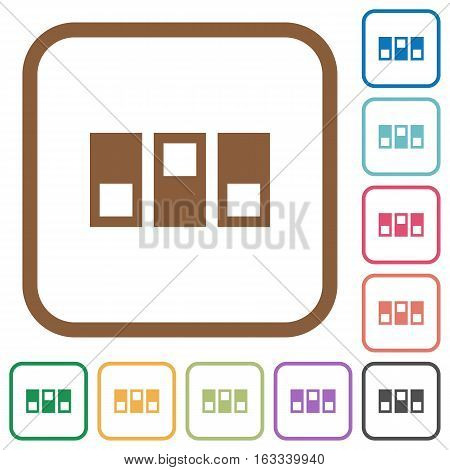 Switchboard simple icons in color rounded square frames on white background