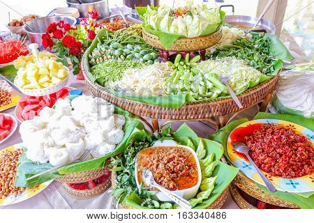 Big set of Thailand vintage food style with vegetable and chili sauce or chili paste.