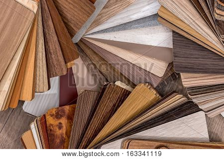 Wooden samples for floor laminate or furniture in home or commercial building.