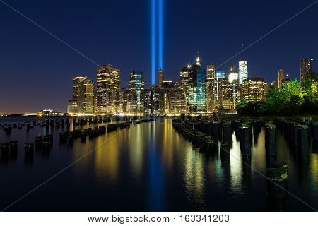 This is a view of Manhattan Island from Brooklyn Bridge Park on September 11.
