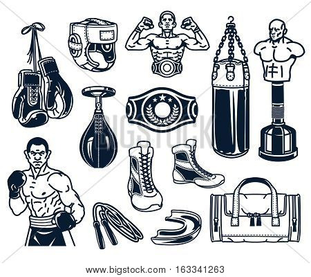Set of vector boxing icons isolated on white.