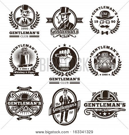 Set of vector vintage gentleman emblems, labels, icons, signage and design elements. Engraving style.