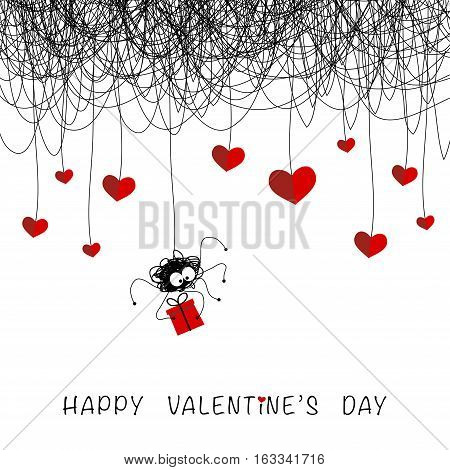 The cover design for the Valentine's day.The spider with the gift,and the red hearts are hanging on the spider web on the white background.In the bottom of the image the phrase Happy Valentine's day.