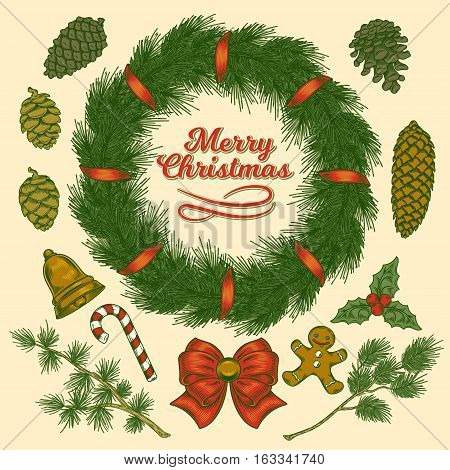Vector Christmas elements set - cones and branches of pine, spruce, larch, Christmas wreath with ribbons, bells, holly, gingerbread, isolated on white. Great for greeting cards, holiday decorations