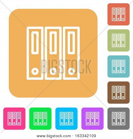 Binders icons on rounded square vivid color backgrounds.