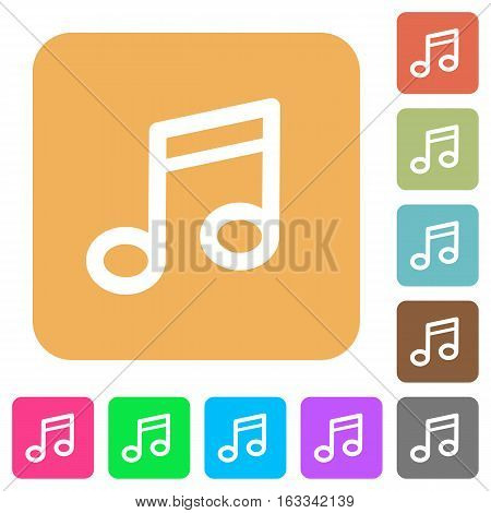 Music note icons on rounded square vivid color backgrounds.