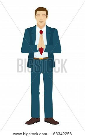 Businessman meditating. Businessman folded his hands in prayer. Businessman with eyes closed. Vector illustration.