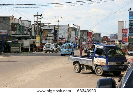 Street view of the Duri town in the middle of Sumatra, Indonesia, november 2013