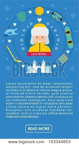 Winter Flat Sports Banner. Boy With Winter Vacation Items Concept.