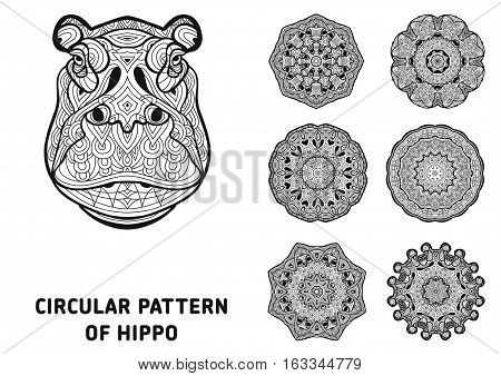 Line Art. Element For Your Design. The Head Of A Hippo
