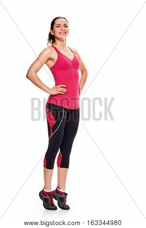 Sport fitness woman standing in full body isolated on white background in studio