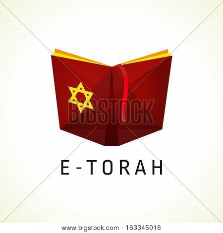 Online torah or tanah vector logo. Open book with david star clipart icon. Computer software  or phone application educational studying sign.