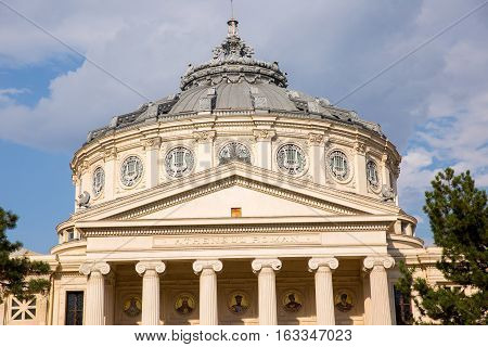 BUCHAREST ROMANIA - SEPTEMBER 3 2016: THE ROMANIAN ATHENAEUM GEORGE ENESCU (ATENEUL ROMAN) OPENED IN 1888 IS A CONCERT HALL IN THE CENTER OF BUCHAREST AND A LANDMARK OF THE ROMANIAN CAPITAL CITY