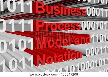Business Process Model and Notation in the form of binary code, 3D illustration