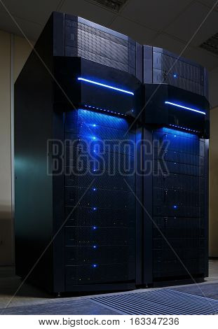stand mainframe in a data center with light glare