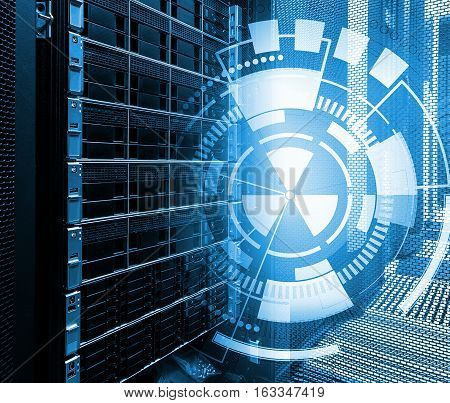 concept of disk storage data center. Information technology on technological background