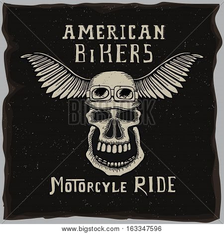 The symbol for the biker club, American bikers gang t-shirt design with hand drawn skull in motorcycle helmet On the old grunge dark background.