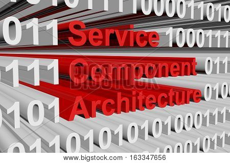 Service Component Architecture in the form of binary code, 3D illustration