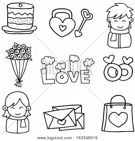 Hand draw of love set doodles collection stock