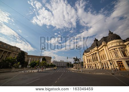 BUCHAREST ROMANIA - SEPTEMBER 3 2016: THE UNIVERSITY OF BUCHAREST IS ONE OF THE MOST IMPORTANT INSTITUTIONS OF HIGHER EDUCATION IN ROMANIA