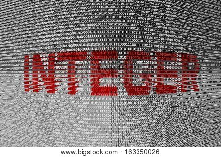 INTEGER in the form of binary code, 3D illustration