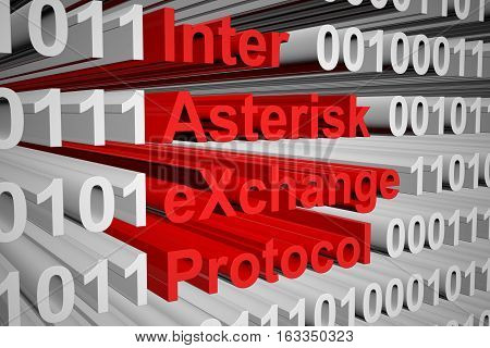 Inter Asterisk eXchange protocol in the form of binary code, 3D illustration