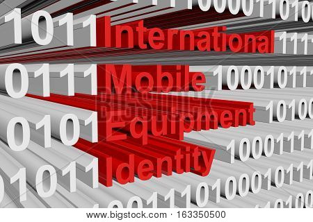 International Mobile Equipment Identity in the form of binary code, 3D illustration