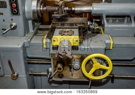 part of old lathe close up. industry