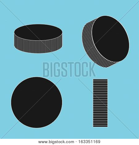 Ice hockey pucks set for sports design - vector