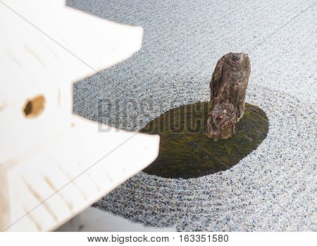 Rock lantern in zen garden stock photo