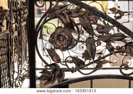 iron fence element. details ornaments of wrought iron fence