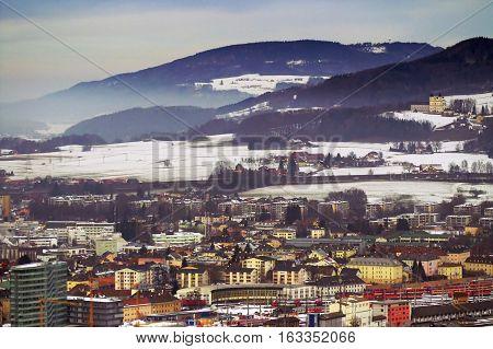 View of Zalzburg from Kapuzinerberg in the winter, Austria