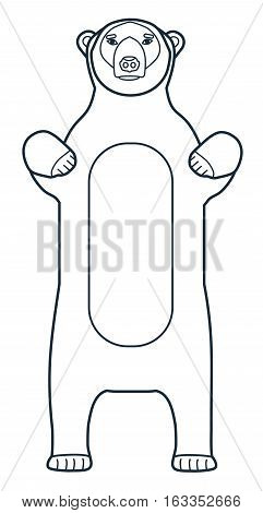 The figure of the polar bear. Line icon. Vector drawing of a series of Arctic animals. The element for the logo and design