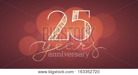 25 years anniversary vector illustration, banner, flyer, icon, symbol, sign, logo. Graphic design element with bokeh effect for 25th anniversary, birthday card