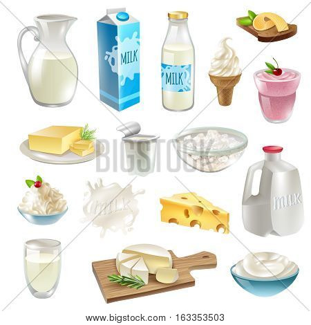 Milk products cartoon icons set with cheese and butter isolated vector illustration
