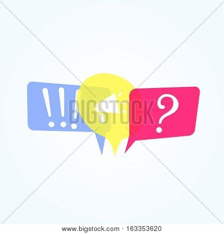 Flat bubble speech symbols, concept of social communication, chatting, interview, voting, discussion, talk, team dialog, group chat,