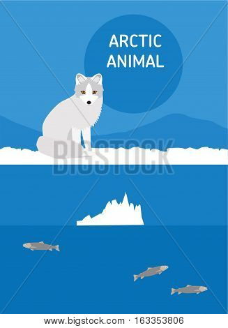 Fox sits in the snow. Vector drawing of a series of Arctic animals. Flat style illustration