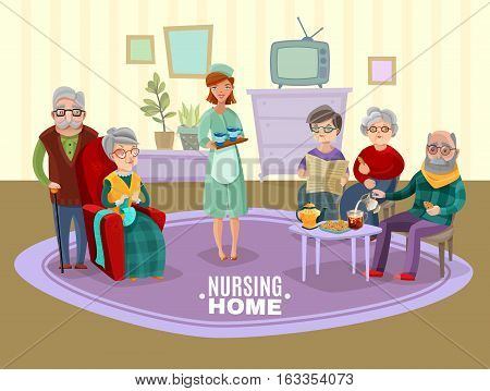 Nursing old people home with tea and newspaper flat vector illustration