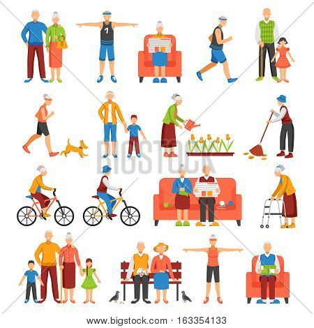Set of isolated senior people and their family faceless characters doing leisure sport or household activities vector illustration