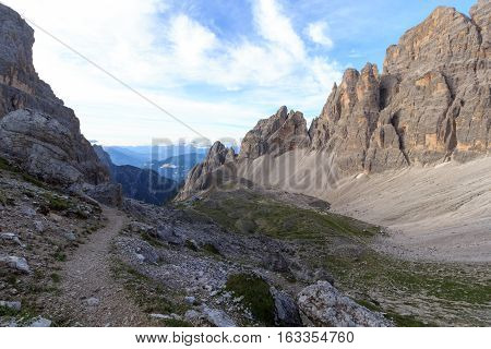 Sexten Dolomites Mountain Panorama And Alpine Hut Rifugio Carducci In South Tyrol, Italy