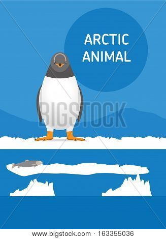 Funny penguin sitting in the snow. Vector drawing of a series of Arctic animals. Flat style illustration