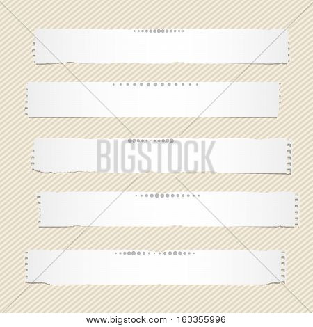 White horizontal torn note, notebook, copybook paper stripes stuck on brown striped pattern.